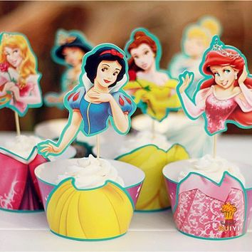 48pcs Snow white Mermaid Cinderella Princess cupcake wrapper toppers kids birthday party supplies cupcake cases liner AW-0047