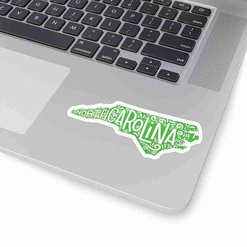North Carolina State Shape Sticker Decal - Lime Green