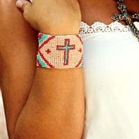 Chevron Cross Bracelet Peach
