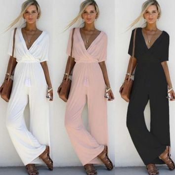 New Women V Neck Loose Playsuit Party Ladies Romper Short Sleeve Long Jumpsuit