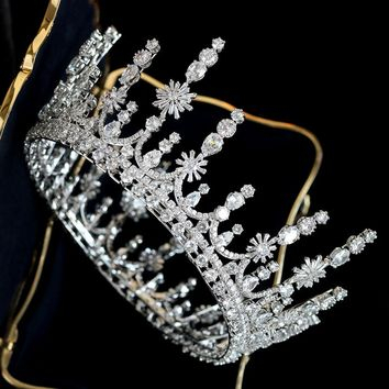 Luxury Top Quality Wedding Bridal Bridesmaid Cubic Zirconia Tiara Crown Cosplay Jewelry