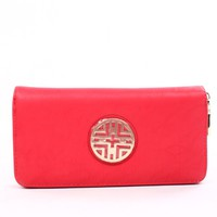 RED FAUX LEATHER ZIP WALLET