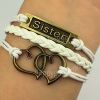 jewerly bracelet sister bracelet heart to heart bracelet bronze charm bracelet white wax cord and braid leather friendship gift.-Q870