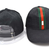 Perfect GUCCI Women Men Embroidery Sports Sun Hat Baseball Cap Hat