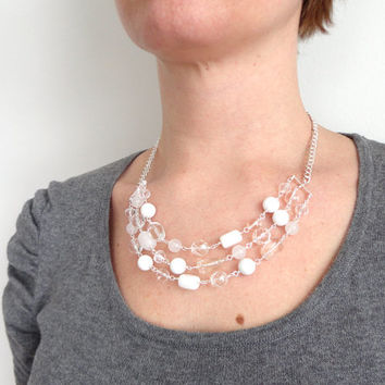 White statement bib necklace stones glass chunky elegant ooak