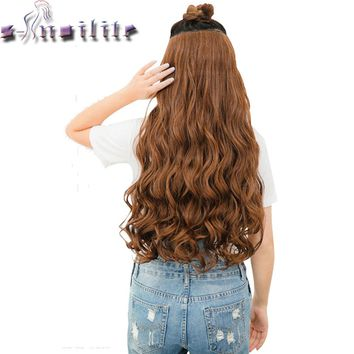 "S-noilite 28"" One Piece Long Clip in Hair Extension half full head real natural remy hair Extentions Curly Synthetic Hairpiece"
