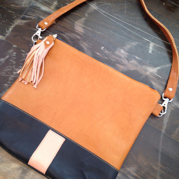 Two tone leather crossbody bag, cognac and dark navy