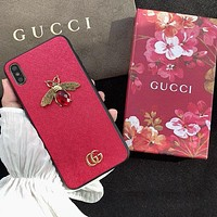 GUCCI Trending Chic Bee GG Letter Mobile Phone Cover Case For iphone 6 6s 6plus 6s-plus 7 7plus 8 8plus X XsMax XR Red