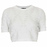 Knitted Lurex Quilt Crop Top - White