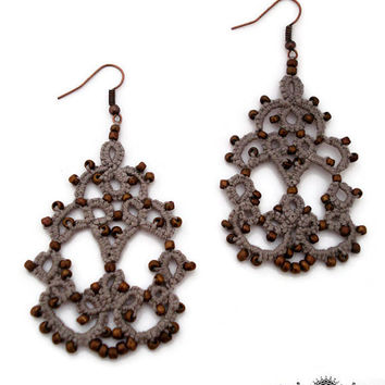 Tatted chandelier earrings in grey with bronze glass beads,jewelry under 25-lace earrings-grey earrings