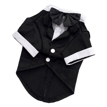 Black Bow Tie Pet Dogs Costume Gentleman Suit Formal Party Wedding Coat Jacket Clothes For Dog Groom 5 Size S/M/LXL/2XL