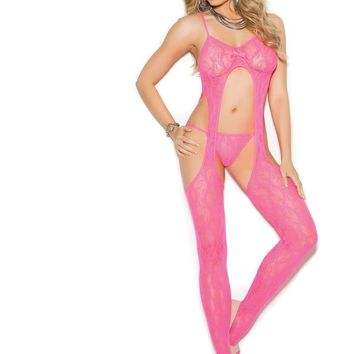 Elegant Moments EM-1308 Lace suspender bodystocking and matching g-string