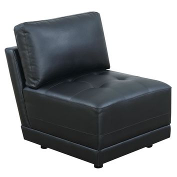 Bonded Leather Armless Chair With Back Cushion, Black