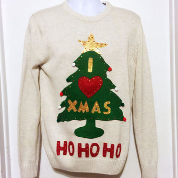 Ugly Christmas Sweater, Christmas Sweater, Christmas Tree , Grinch Sweater, Ugly Sweater Party, White Sweater, Small, Item #14