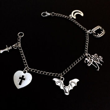 Vampire Bracelet, Vampire Slayer, Halloween Jewelry, Buffy Summers, Vampire Bat, Gothic Jewelry, Charm Bracelet, Bite Me, Sword Jewelry