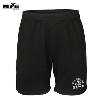 """MUSCLE ALIVE Men Bodybuilding Shorts Exercise Training Sports Brand Clothing Gym Clothes Cotton 7""""Inseam Pants Bermuda Masculina"""