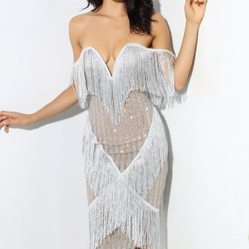 Plunging Fringed Party Dress