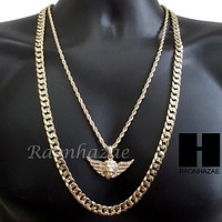 """MEN ICED OUT GOLD MIGOS LION CROSS CHARM CUT 30"""" CUBAN LINK CHAIN NECKLACE S085G"""
