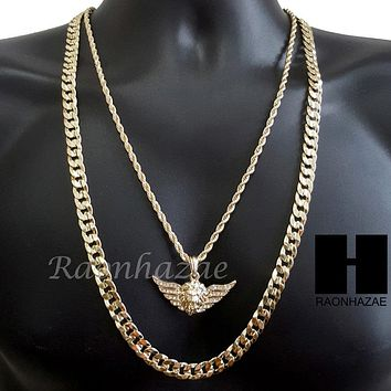 "MEN ICED OUT GOLD MIGOS LION CROSS CHARM CUT 30"" CUBAN LINK CHAIN NECKLACE S085G"