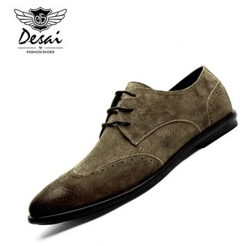 DESAI Brand British Style Men Genuine Leather Suede Shoes Retro Pointed Toe Bullock Oxford Shoes Comfortable Shoes Men