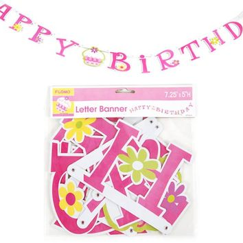 Happy Birthday Pink Cupcake Jointed Letter Banner