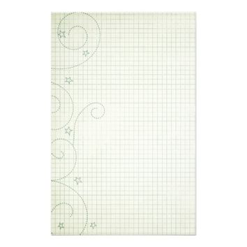 Pretty Swirls and Stars On A Graph Background Stationery