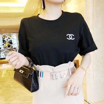 """Chanel"" Women Casual Simple Solid Color Short Sleeve T-shirt Top Tee"