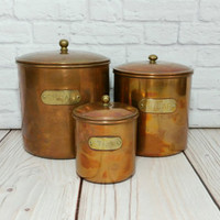 Vintage Copper Sugar Tea Canister Set of Three Brass Tag