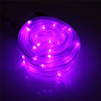 Top Quality 7M 50 LED Solar Rope Tube Led String Strip Fairy Light Outdoor Garden Party Decor Waterproof
