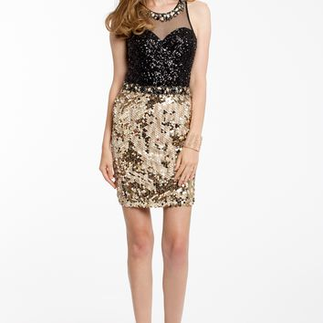 Sequin Halter Dress with Ilussion Keyhole Back