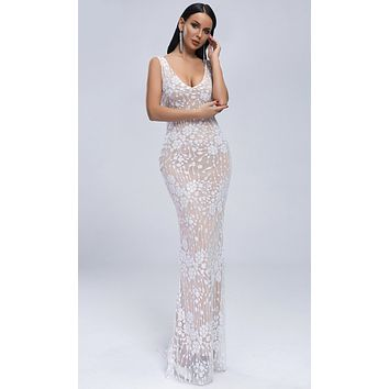 Turn Off The Lights White Sheer Mesh Sequin Floral Pattern Sleeveless Scoop Neck Maxi Dress