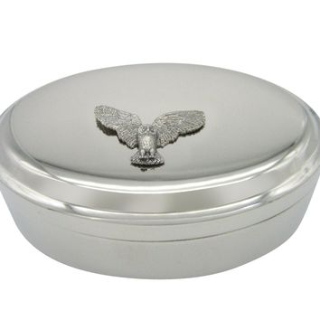 Silver Toned Textured Owl Bird Pendant Oval Trinket Jewelry Box