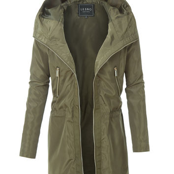 LE3NO Womens Lightweight Mid Length Water Resistant Parka Jacket