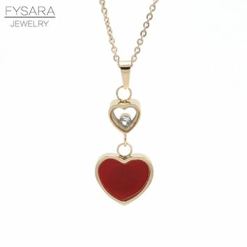 FYSARA Luxury Brand Double Heart Pendant Necklace for Women Lover's White Shell Red/Black Love Short Necklace Valentines Gift