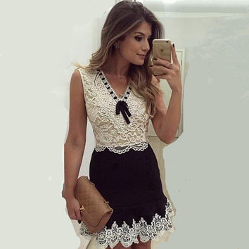 New Summer Dress 2016 women casual dresses sleeveless women  sexy club lace dress