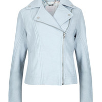 Leather biker jacket - Powder Blue | Jackets & Coats | Ted Baker UK