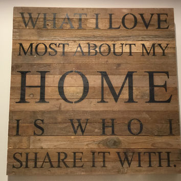 "What I love most about my home is who I share it with. - Reclaimed Wall Art 28"" x 28"" - Natural"