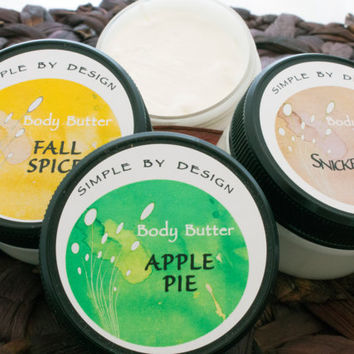 Seasonal  Whipped Body Butter Sampler 2oz each of Apple Pie, Fall Spice and Snickerdoodle, unique handmade gift limited quantity