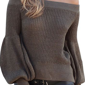 Sweater Weather Long Lantern Sleeve Pattern Off The Shoulder Pullover Sweater - 3 Colors Available