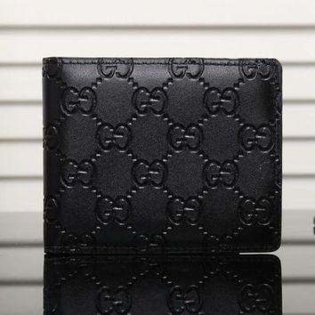 Gucci Stylish Women Men Print Leather Purse Wallet I