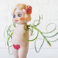 40% SALE Little Miss Val Fly Girl w Pink Glitter Bush w Air Plant Wings Garden