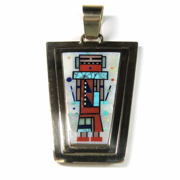 Large Vintage 14K Navajo Reversible Inlay Pendant Jerry Nelson