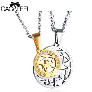 GAGAFEEL Lover's Necklace Stainless Steel Moon Star Pendants For Men Jewelry Clear Zircon Chain For Male Female Couple