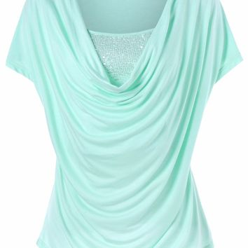 Ruched Sequined Short Sleeve T-Shirt