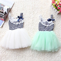 summer fashion new baby girl ball gown dress lace+cotton material 3 colors age 0-2