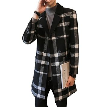 New Fashion Mens Woolen Overcoat plaid Turn-down Collar Double Breasted Stripe Jacquard Male Medium-Long Casual jacket