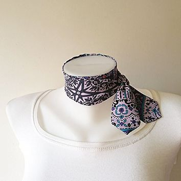 Purple Tribal Print Mini Skinny Scarf, Choker Scarf, Floral Neck Tie, Thin Scarf with Angled Ends, Chiffon, Headband, Spring Summer Fashion