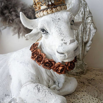 Cow decor statue farmhouse white lg albino male bull w/ horns French Nordic statuette figure embellished crown home decor anita spero design