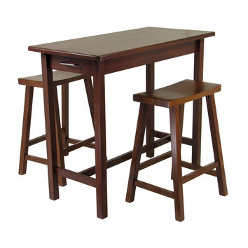 Contemporary Styled Pleasant 3pc Kitchen Island Set with Table, 2 Drawers and Saddle Stools