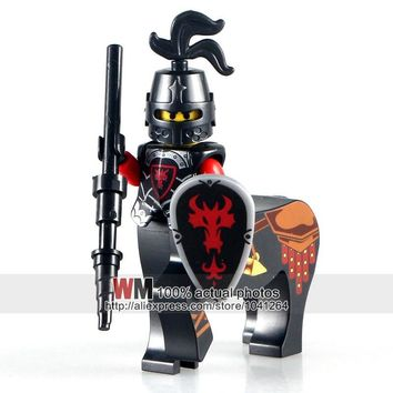 Single Sale AX8801A-H Lord of the Rings Red Dragon Knight Medieval Castle Heavy Shield Building Blocks Kids Gifts Toys Legoings